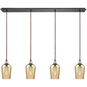 """ELK Hammered Glass 4-Light 46"""" Pendant Light in Oil Rubbed Bronze"""