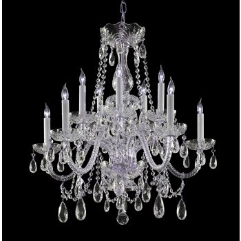 """Crystorama Traditional Crystal 10-Light 26"""" Chandelier in Polished Brass with Clear Hand Cut Crystals"""