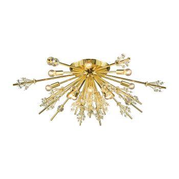 """ELK Starburst 12-Light 34"""" Ceiling Light in Polished Gold"""