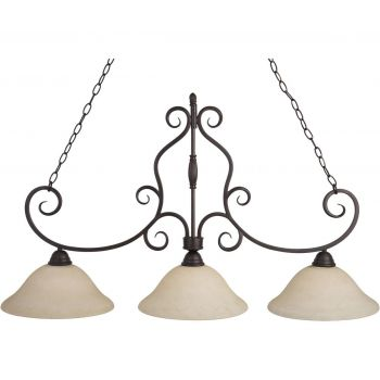 """Maxim Lighting Manor 45"""" 3-Light Frosted Ivory Linear Pendant in Bronze"""
