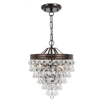 """Crystorama Calypso 15"""" Mini Chandelier in Vibrant Bronze with Clear Glass Drops Crystals"""