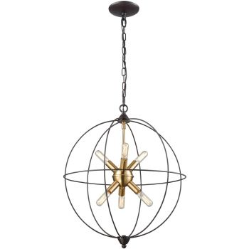 """ELK Loftin 6-Light 19"""" Contemporary Chandelier in Oil Rubbed Bronze And Satin Brass"""