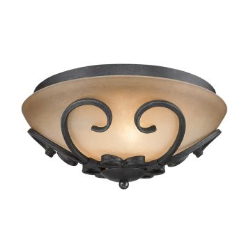 Golden Lighting Madera Flush Mount in Black Iron with Toscano Glass