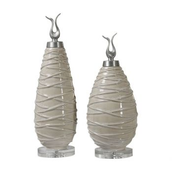 "Uttermost Romeo 20.75"" Crackled Ceramic Finials in Tan (Set of 2)"