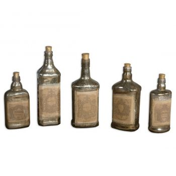 "Uttermost Recycled Bottles 11.5"" Decorative Bottles in Mercury (Set of 5)"