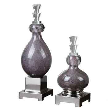 "Uttermost Charoite 19"" Glass Decorative Bottles in Purple (Set of 2)"