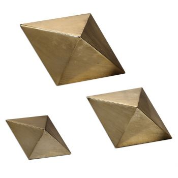 "Uttermost Rhombus 8.25"" Table Top Accents in Antique Champagne (Set of 3)"