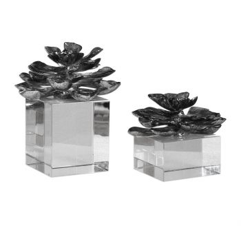 "Uttermost Indian Lotus 7"" Flowers in Metallic Silver (Set of 2)"
