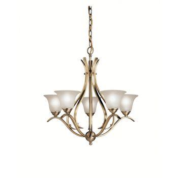 "Kichler Dover 24"" 5-Light Chandelier in Antique Brass"