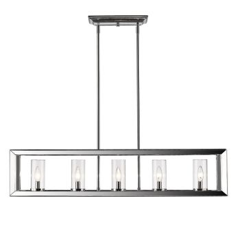 Golden Lighting Smyth Linear Pendant in Chrome with Clear Glass
