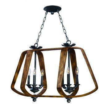 "Maxim Lighting Road House 19"" 6-Light Linear Pendant in Barn Wood/Iron Ore"