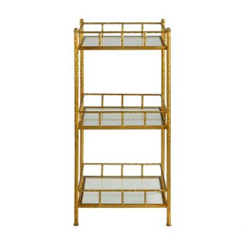 "Uttermost Tilly 35.63"" Clear Glass Accent Shelf in Bright Gold Leaf"