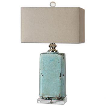 "Uttermost Adalbern 30"" Blue Crackle Table Lamp in Polished Nickel"