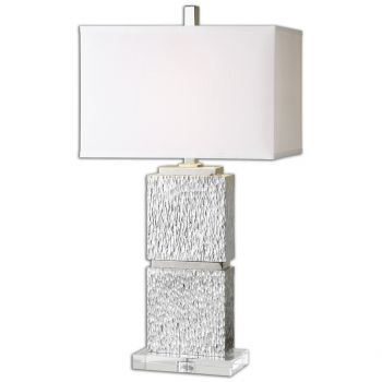 """Uttermost Eumelia 30.75"""" Table Lamp in Metallic Silver/Polished Nickel"""