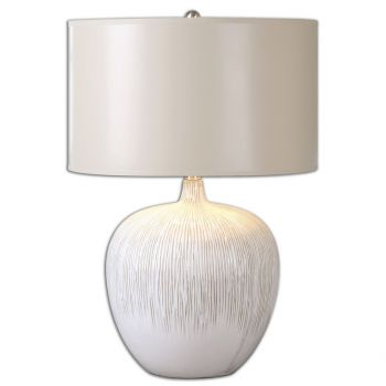 """Uttermost Georgios 23.25"""" Table Lamp in Distressed Aged Ivory"""