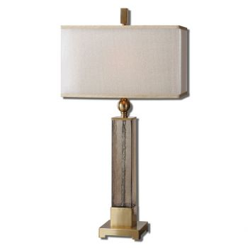 """Uttermost Caecilia 33"""" Amber Glass Table Lamp in Plated Brushed Brass"""