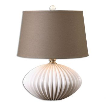 """Uttermost Bariano 25"""" Table Lamp in Crackled Gloss White"""