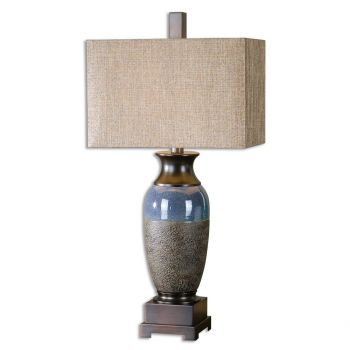 """Uttermost Antonito 32.5"""" Textured Table Lamp in Stone Bronze/Gloss Blue"""