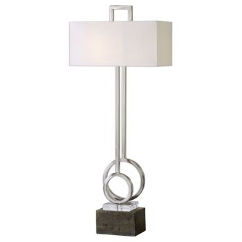 "Uttermost Deshka 39"" 2-Light Concrete Foot Table Lamp in Brushed Nickel"