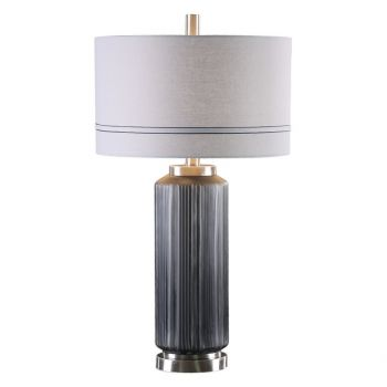 """Uttermost Akila 31"""" Dark Charcoal Glass Table Lamp in Brushed Nickel"""