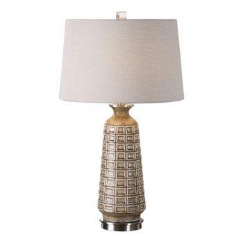 """Uttermost Belser 28"""" Embossed Table Lamp in Distressed Mushroom Brown"""