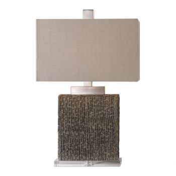 """Uttermost Demetrio 28"""" Textured Table Lamp in Burnished Taupe Wash"""