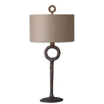 "Uttermost Ferro 34.75"" Hammbered Cast Iron Table Lamp in Aged Rust Bronze"