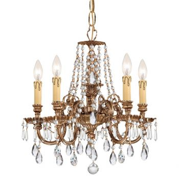 """Crystorama Novella 5-Light 19"""" Traditional Chandelier in Olde Brass with Clear Spectra Crystals"""