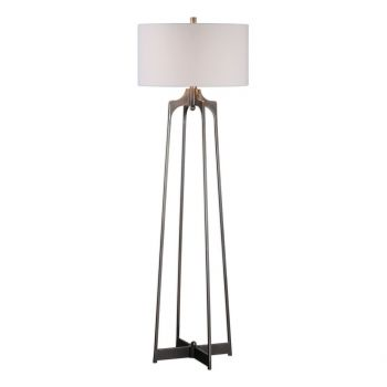 "Uttermost Adrian 60.75"" Floor Lamp in Plated Aged Gun Metal"