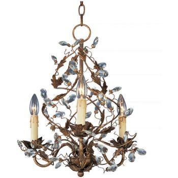 """Maxim Lighting Elegante 18.5"""" 3-Light Mini Chandelier in Etruscan Gold"""