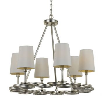 """Libby Langdon for Crystorama Graham 21"""" Midcentury Modern Chandelier in Antique Silver"""