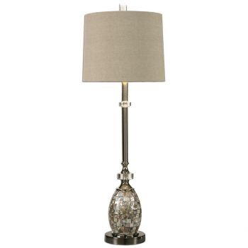 """Uttermost Ceredano 34"""" Capiz Shell Buffet Lamp in Polished Nickel"""