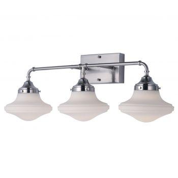 "Maxim Lighting New School 28"" 3-Light Bathroom Vanity Light in Satin Nickel"