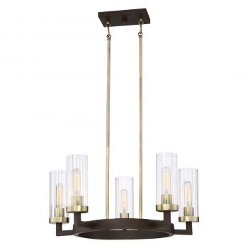 """Minka Lavery Ainsley Court 5-Light 25"""" Transitional Chandelier in Aged Kinston Bronze with Brushed"""