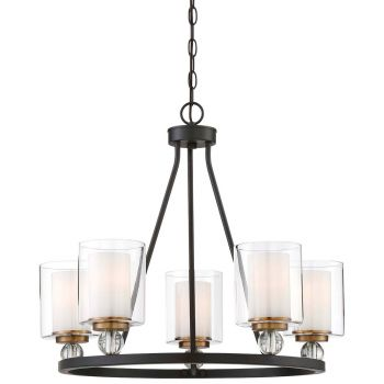 """Minka Lavery Studio 5 5-Light 26"""" Transitional Chandelier in Painted Bronze with Natural Brush"""