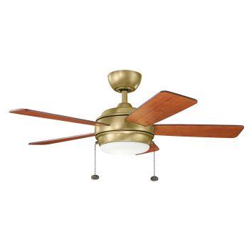 """Kichler Starkk 42"""" LED Ceiling Fan in Natural Brass"""