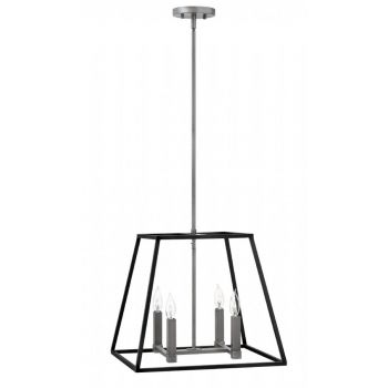 Hinkley Fulton 4-Light Hanging Pendant Light in Aged Zinc