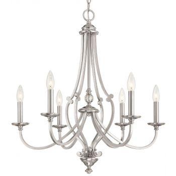 "Minka Lavery Savannah Row 6-Light 26"" Traditional Chandelier in Brushed Nickel"