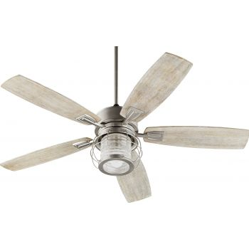 "Quorum Galveston 52"" Indoor Ceiling Fan in Satin Nickel"