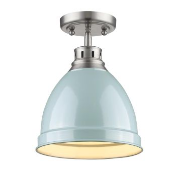 Golden Lighting Duncan Flush Mount in Pewter with Seafoam Shade