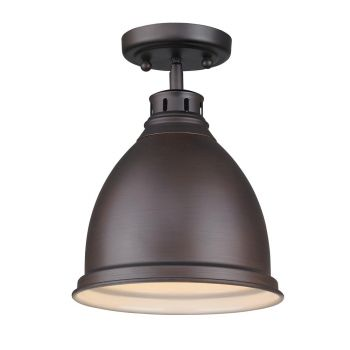 Golden Lighting Duncan Flush Mount in Rubbed Bronze w/ Rubbed Bronze Shade