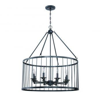 "Craftmade Villa 8-Light 30"" Pendant Light in Black Iron"