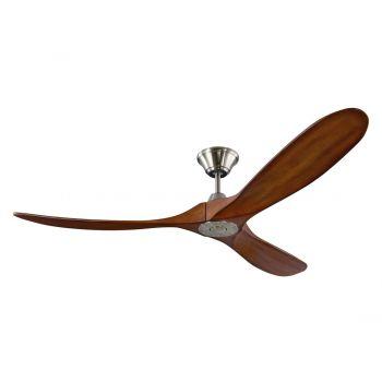 """Monte Carlo Maverick 60"""" Ceiling Fan in Brushed Steel w/ Koa Blade"""