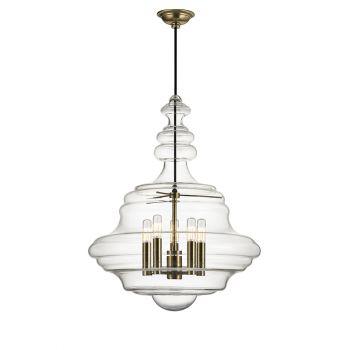 Hudson Valley Washington 5-Light Schoolhouse Pendant in Aged Brass