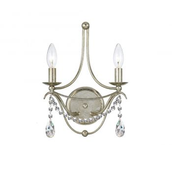 """Crystorama Metro 2-Light 15"""" Wall Sconce in Antique Silver with Clear Spectra Crystals"""