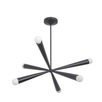 Craftmade Nova 6-Light Modern Chandelier in Gloss Black