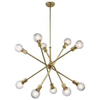 Kichler Armstrong 10-Light Large Chandelier in Natural Brass