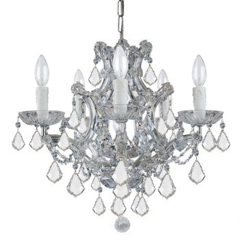 """Crystorama Maria Theresa 6-Light 17"""" Mini Chandelier in Polished Chrome with Clear Italian Crystals"""