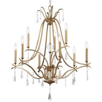 "Minka Lavery Laurel Estate 9-Light 32"" Traditional Chandelier in Brio Gold"
