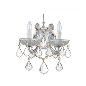 """Crystorama Maria Theresa 2-Light 13"""" Wall Sconce in Polished Chrome with Clear Italian Crystals"""
